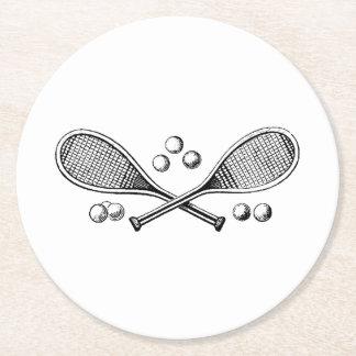 Sports Vintage Crossed Tennis Racquet Tennis Balls Round Paper Coaster
