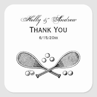 Sports Vintage Crossed Tennis Racquet Tennis Balls Square Sticker