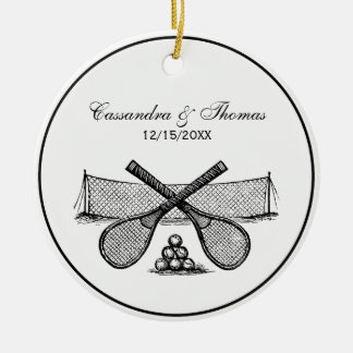 Sports Vintage Tennis Net, Crossed Racquets, Balls Ceramic Ornament