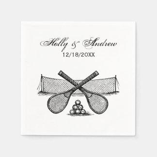 Sports Vintage Tennis Net, Crossed Racquets, Balls Disposable Serviette