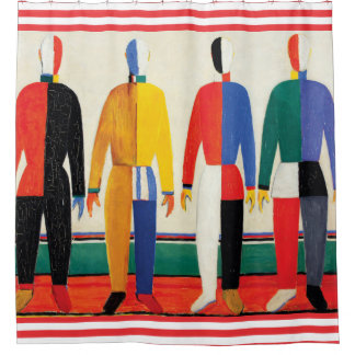 Sportsmen by Kazimir Malevich Shower Curtain