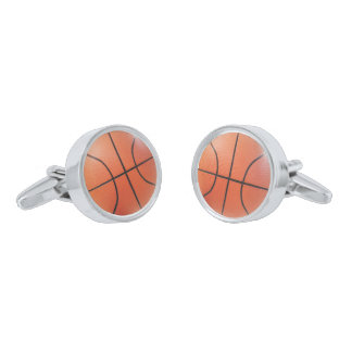 Sporty Basketball Cufflinks Silver Finish Cuff Links
