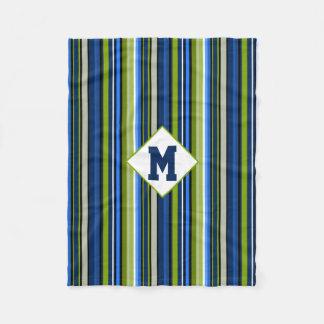 Sporty Blue Green Stripe Monogram Fleece Blanket