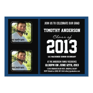 Sporty Boy Grad Black and Monaco Blue TWO Photos Card