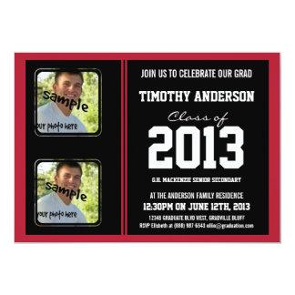 Sporty Boy Grad Black and Red TWO Photos 13 Cm X 18 Cm Invitation Card
