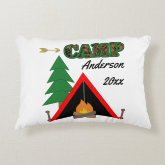 Sporty Camping Campfire Tent Name Decorative Cushion