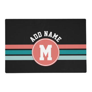 Sporty Custom Monogram with Retro Stripes Laminated Placemat