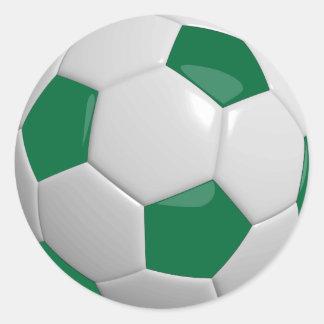 Sporty Dark Green & White Soccer Ball Round Sticker