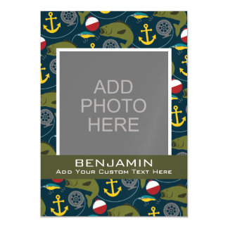 Sporty Fishing Pattern with Custom Name Magnetic Invitations