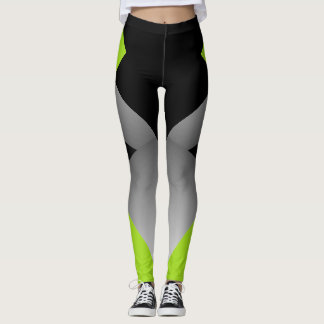 Sporty Geometric Chic Dancers Leggings Lime Black