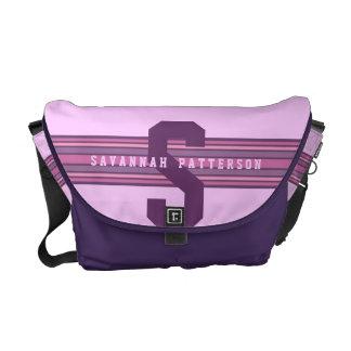 Sporty Girl Bold Purple Monogram Stripe