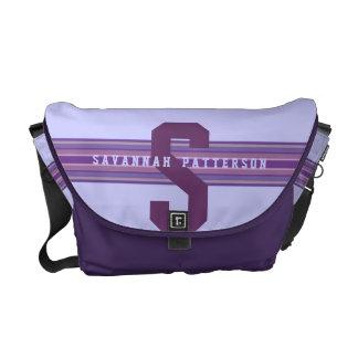 Sporty Girl Bold Purple Monogram Stripe Commuter Bags