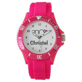 Sporty girl watch with personalizable name