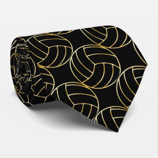 Sporty Gold Trim Volleyball |Changeable Background Tie