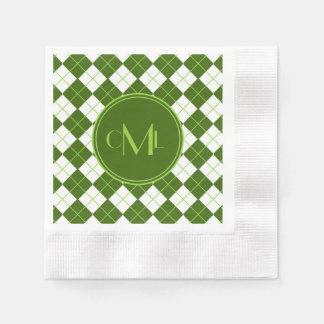 Sporty Green Argyle Print with Monograms Paper Serviettes
