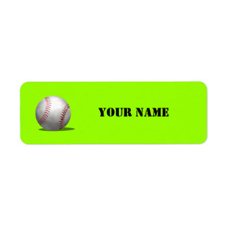 Sporty Green Baseball School Book Return Address Label