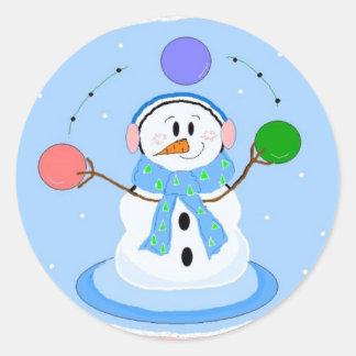 Sporty Juggling Snowman Classic Round Sticker