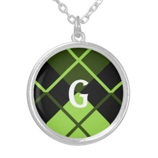 Sporty Lime Green Forest Black Argyle Monogrammed Silver Plated Necklace