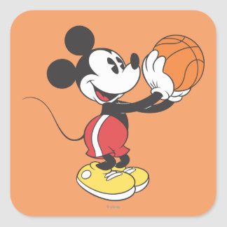 Sporty Mickey | Holding Basketball Square Sticker