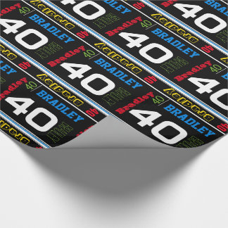 Sporty personalize name age colorful birthday wrap wrapping paper
