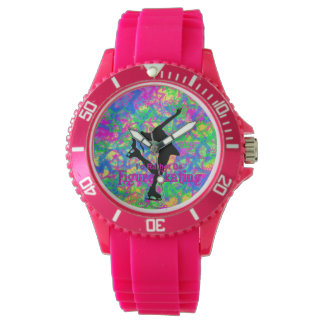 """Sporty Pink """"rather be figure skating"""" Watch"""