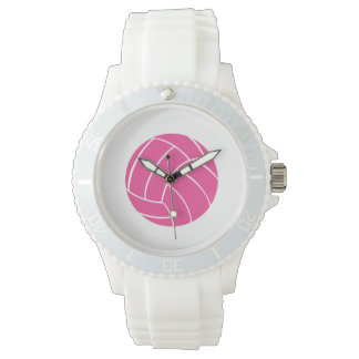 Sporty Pink Volleyball Wrist Watch