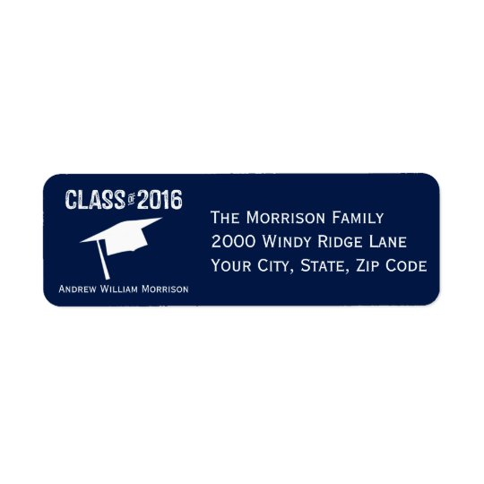 Sporty Prep Graduation Cap Class of 2016 Return Address Label