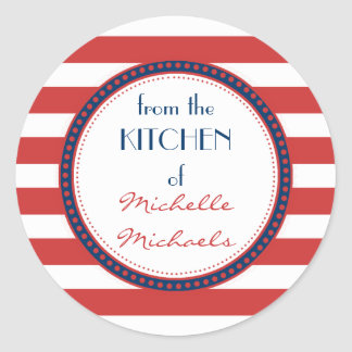 Sporty Red White Blue Nautical Stripes Monogram Classic Round Sticker
