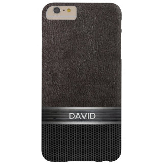 Sporty Steel Belt Leather & Metal Custom Name Barely There iPhone 6 Plus Case