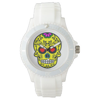 Sporty White Silicon whatch mexican skull Watch