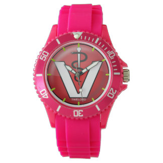 Sporty with pink Silicone Strap watch vet