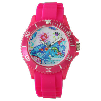 Sporty woman's watch hot pink with tobacco leaf