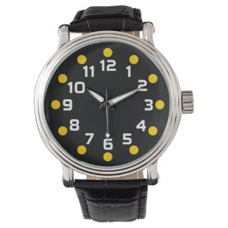 Spot Markers - Amber and White on Black Wrist Watch