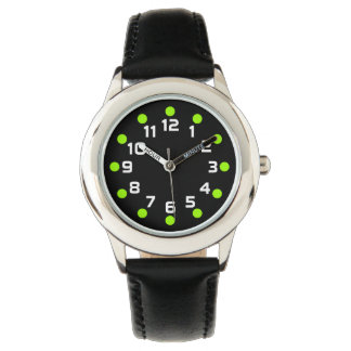 Spot Markers - Chartreuse and White on Black Wrist Watches