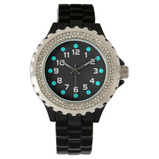 Spot Markers - Cyan and White on Black Wrist Watches