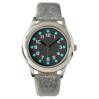 Spot Markers - Cyan and White on Black Wristwatches