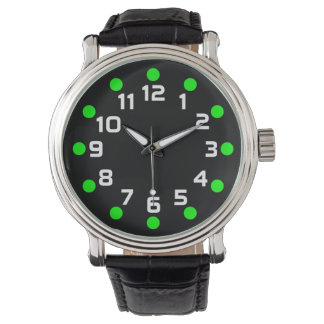 Spot Markers - Green and White on Black Watches