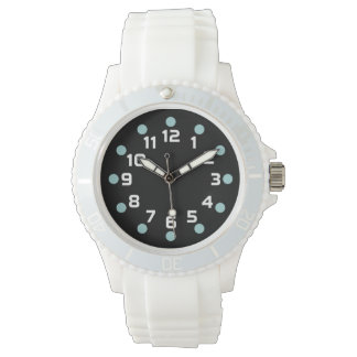 Spot Markers - Lt Blue Green and White on Black Wristwatch