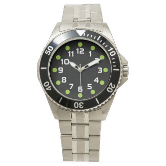 Spot Markers - Martian Green and White on Black Wrist Watch