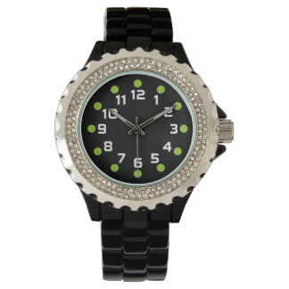 Spot Markers - Martian Green and White on Black Wristwatches