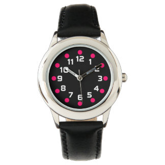 Spot Markers - Neon Red and White on Black Watches