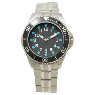 Spot Markers - Sky Blue and White on Black Watches