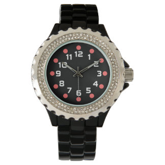 Spot Markers - Tropical Pink and White on Black Wristwatch