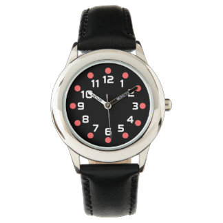 Spot Markers - Tropical Pink and White on Black Wristwatches