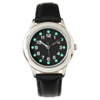 Spot Markers - Turquoise and White on Black Wrist Watches