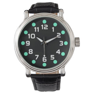 Spot Markers - Turquoise and White on Black Wristwatch