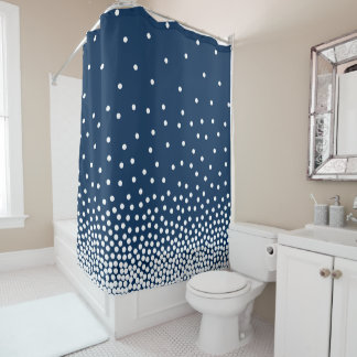 Spot Shaded 240816 - White and Navy Blue Shower Curtain