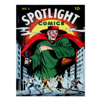 SPOTLIGHT COMICS Cool Vintage Comic Book Cover Art Poster