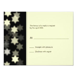 Spotlight Star of David Bar/Bat Mitzvah Reply Card 11 Cm X 14 Cm Invitation Card
