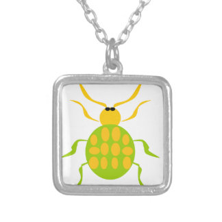 Spotted Beetle Square Pendant Necklace